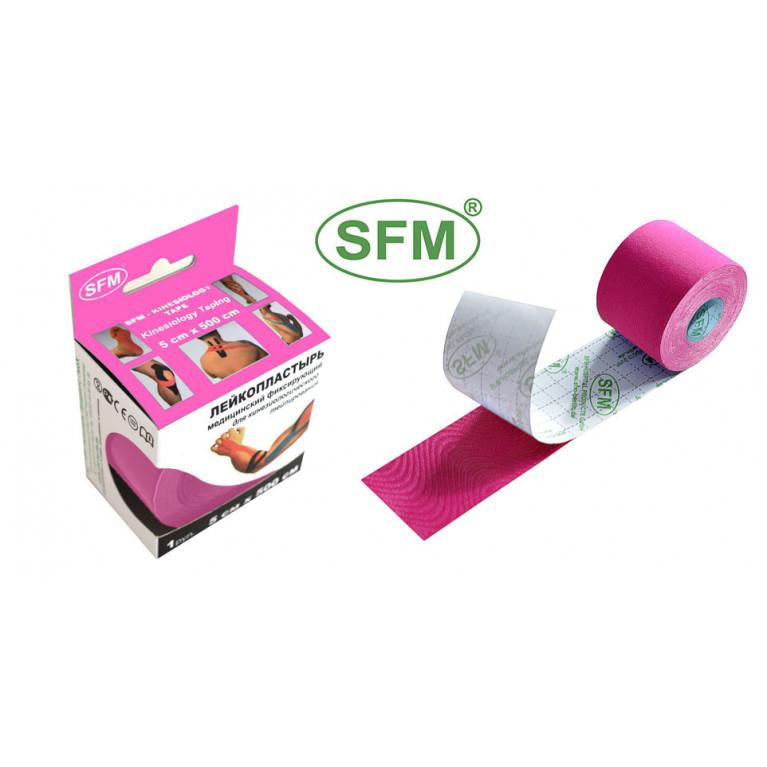 SFM-PLASTER Лента кинезиологическая (кинезио тейп) на хлопковой основе в рулоне 2,5 смх500 см №1 розовый