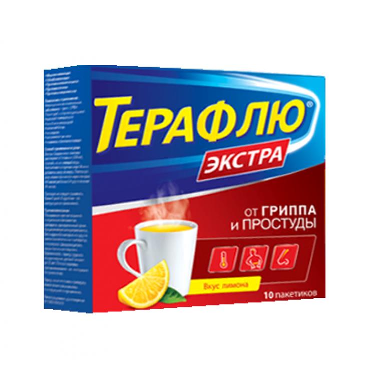 ТераФлю Экстра Лимон порошок для приготовления раствора для приема внутрь №10