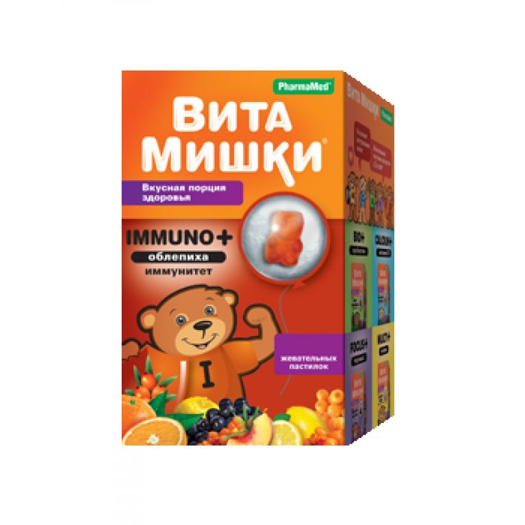 ВитаМишки Immuno + ( Иммуно плюс ) облепиха жевательные пастилки №30